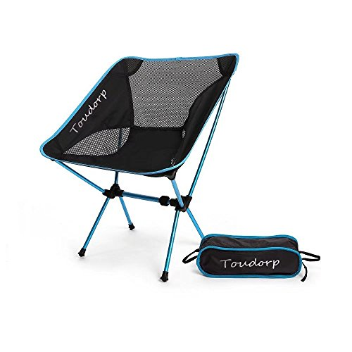 Toudorp Outdoor Folding Ground Reclining Camp Chair for Beach, Picnic, Camping, Backpacking, Hiking, Fishing, Bike Touring and Hunting Trips with Carry Bag Blue (Ground Chair Rocking)