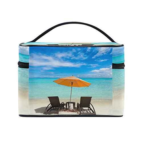 Sea Beach Ocean View Cosmetic Bags Travel Makeup Toiletry Organizer Case (Table Kitchen Aria)