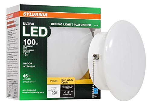 "SYLVANIA General Lighting 75112 100W Equivalent Ultra LED Non-Dimmable 7"" Medium Base Retrofit Ceiling Light w/Pull Chain - 2700K (Soft White)"