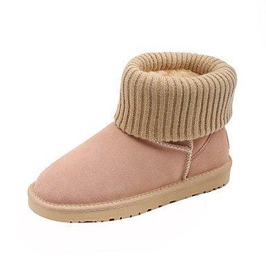La mujer invierno Botas de cuero Nappa Confort Casual gris rosado rubor de almendra Gray