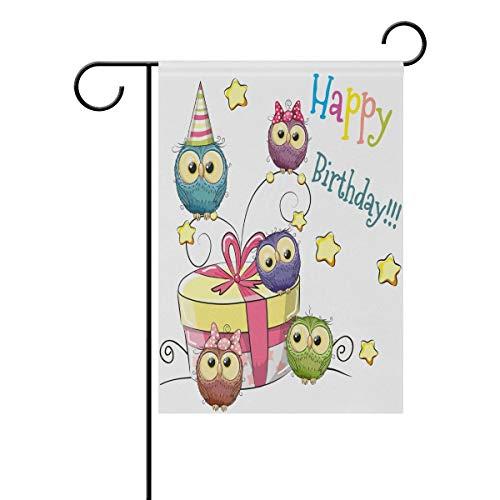 Lovely Animal Happy Birthday Owls Celebrate Polyester Garden Flag Banner 12 x 18 Inch for Outdoor Home Garden Flower Pot Decor ()