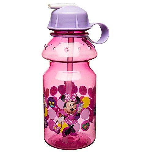 Zak Designs Minnie 14oz Kids Water Bottle with Straw - BPA Free with Easy Clean Design, Minnie -