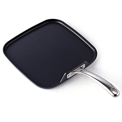 Cooks Standard Hard Anodized Nonstick Square Griddle Pan, 11 x 11-Inch, ()
