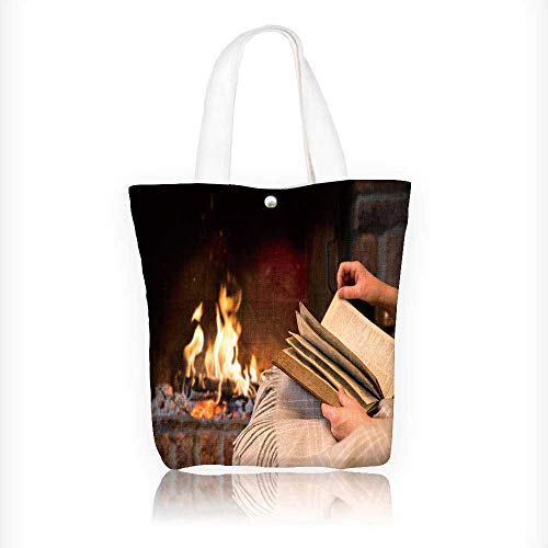 Canvas Tote Bag hand woman read book by fireplace Hanbag Women Shoulder Bag Fashion Tote Bag W16.5xH14xD7 INCH