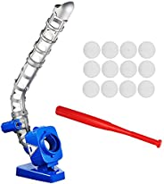 Sport Games Baseball Pitching Machine for Youth, Height Adjustable Electronic Slow Pitch Toy w/Bat and 12 Ball