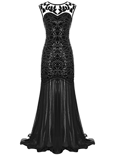 FAIRY COUPLE Women's Maxi Long 1920s Gatsby Dresses Sequined Embellished Prom Evening Dress S Black
