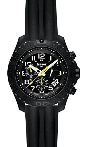 traser H3 Outdoor Pioneer Chronograph Sapphire Watch | Silicone Watch Band - Black