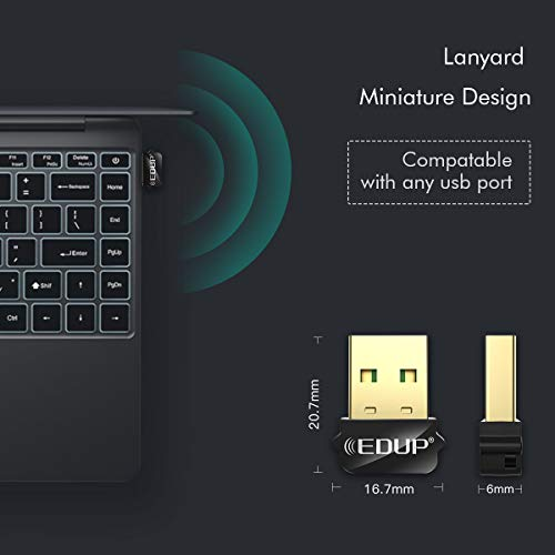 Mini USB WiFi Adapter 650Mbps Wireless Network Adapter for Desktop PC Laptop MacBook, WiFi Dongle Nano Size Portable Lanyard Design Compatible with Windows 10/7/8/8.1/XP/Vista Mac OS X 10.6-10.15.3