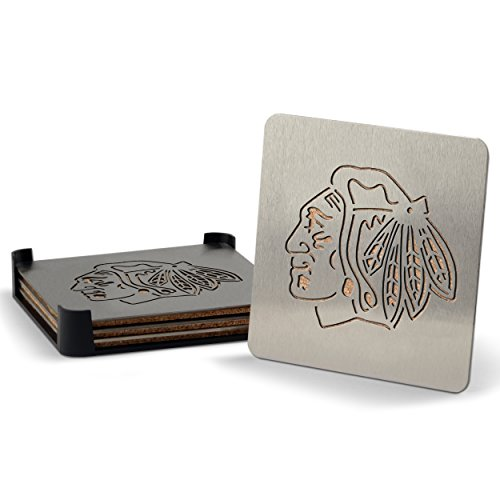 NHL Chicago Blackhawks Boasters, Heavy Duty Stainless Steel Coasters, Set of 4