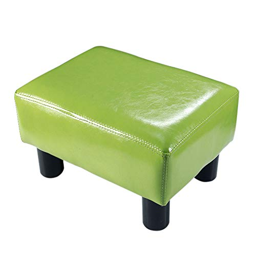 TOUCH-RICH Small Foot Rest Stool Rectangle Modern PU Faux Leather Ottoman Padded Seat Footrest Footstool in Grass Green (Green Ottoman Leather)