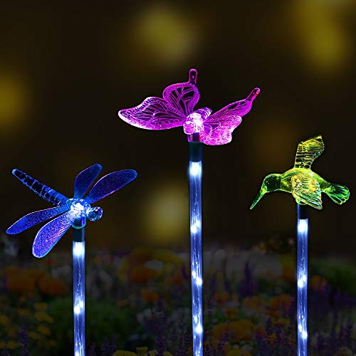 - Sooreally Solar Garden Stake Lights, Color Changing Decorative LED Lights for Outdoor, Patio, Lawn, Festival, 3 Pack (Butterfly, Dragonfly, Hummingbird)