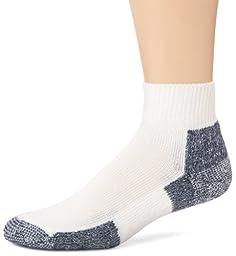 ThorlosMensRunning Thick Padded Ankle - Low Cut Socks JMX, White/Navy, X-Large (Shoe Size 13-15)