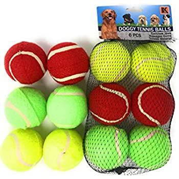 BK PRODUCTS LLC Dog Tennis Balls for Dogs Set of 6 2.5 INCH Balls- Three Vibrant Colors - Ready to Throw and Fetch - NOT for Chewing, Throw Games ONLY
