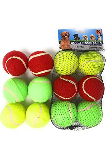 BK Dog Tennis Balls for Dogs Set of 6 2.5 INCH Balls- Three Vibrant Colors - Ready to Throw and Fetch - NOT for Chewing, Throw Games ONLY