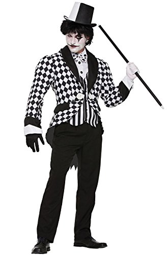 Mememall Fashion Harlequin Jester Clown Tailcoat Men Adult Costume (Clown Tailcoat Costume)
