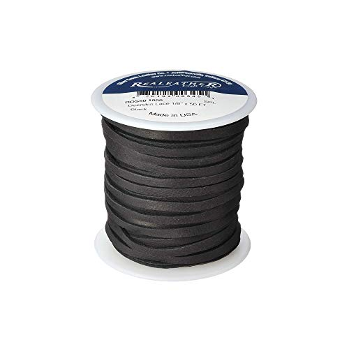 Realeather Crafts Deerskin Lace, 0.125-Inch Wide 50-feet Spool, Black Deer Genuine Leather Lace