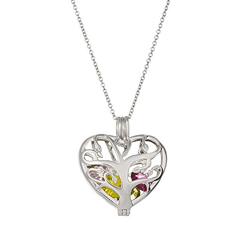 "Sterling Silver Personalized 6mm Round Simulated Birthstone Family Tree Heart Cage Locket (16"" chain)"