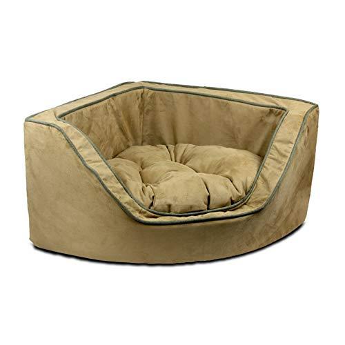 Snoozer Luxury Corner Pet Bed, Large, Camel/Olive