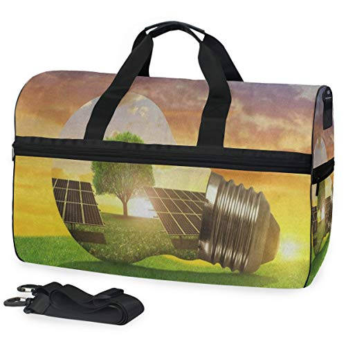 Travel Gym Bag Amazing Sunset Tree Of Life Green Grass Overnight Yoga Bag With Shoes Compartment Foldable Duffle Bag For Men Women