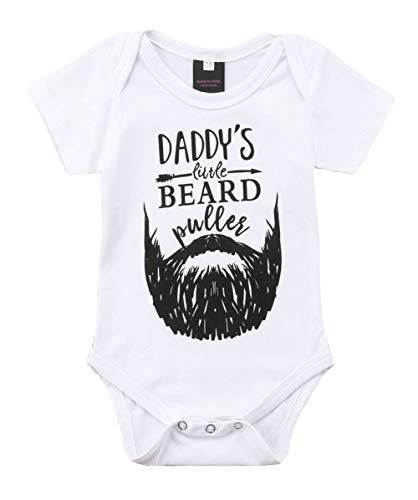 Newborn Baby GOT My Mind ON My Mommy Funny Bodysuits Rompers Outfits Blue (Z-Daddy's Little Beard, 6-12M) -