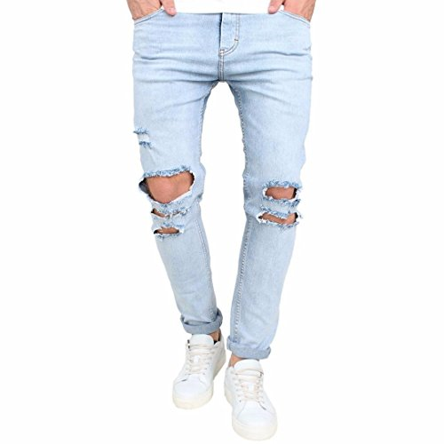 Men Jeans Daoroka Men's Ripped Slim Fit Straight Denim Motorcycle with Broken Holes Younger-Looking Pants (36, Blue) ()