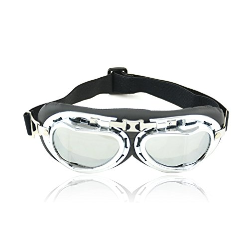 Vintage Motorcycle Goggles,  Anti-UV Adjustable Motorcycle Glasses Motocross Pilot Scooter Goggles Harley for Kids, Men and - Aviation Glasses