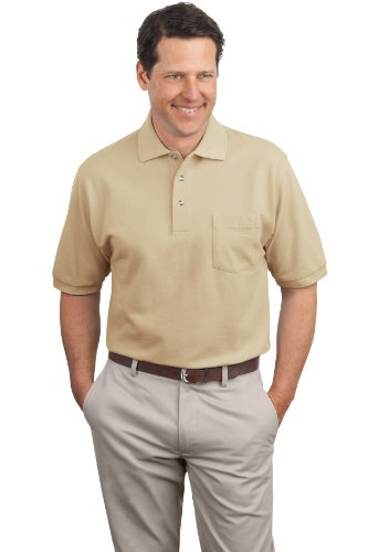 Port Authority Men's Pique Knit Polo with Pocket XL Stone