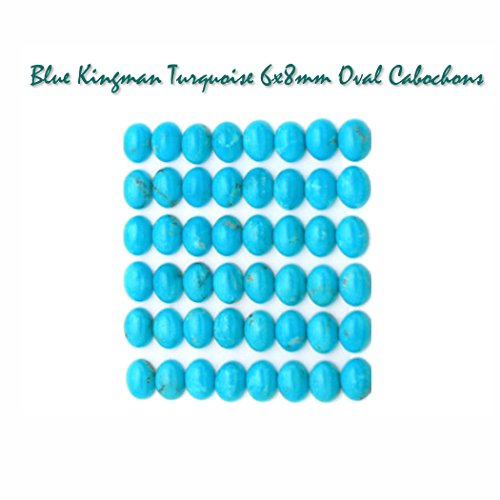 Genuine Blue Kingman Turquoise 6x8mm Oval Gemstone Cabochons for Jewelry Making (pkg of 4), UNDRILLED (Beauty Sleeping Mine)