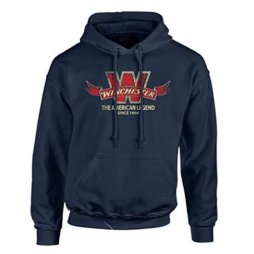 Winchester W Vintage Banner Pullover Fleece Hoodies for Men - Sweatshirt, Gift, Jacket, Ultra Soft Navy