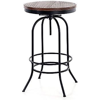 Amazon.com: iKayaa 24inch Bar Pub Table Round Pinewood Industrial ...