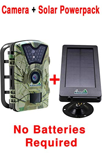 Cheap MyCommand 12MP Solar Powered Game Security Trail Cameras with Night Vision Motion Activated Sensor and Battery Pack, IP66 Waterproof 1080p Spy Outdoor Animal Camera, Deer & Wildlife Hunting time Lapse