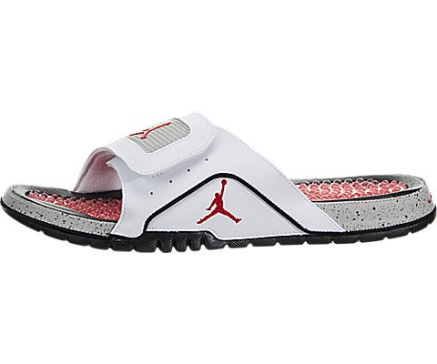 Jordan Nike Men's Hydro IV Retro White/Fire Red/Black/Tech Grey Sandal 8 Men US (Air Jordan Hydro)