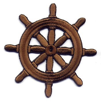 Ships Wheel iron-on embroidered patch