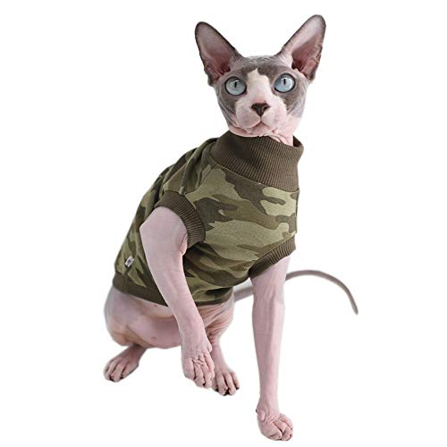 Camo Sphynx Cat Cute Breathable Summer Cotton T-Shirts Pet Clothes, Round Collar Green Frog Vest Hairless Cat Kitten…
