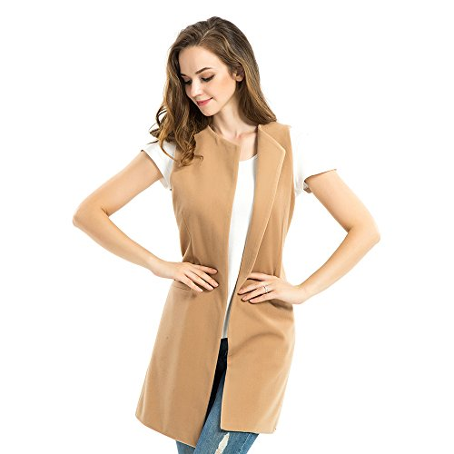 Biovan Fashion Women's Wool Blend Sleeveless Long Vest Slim Autumn Waistcoat (M, Light Tan)