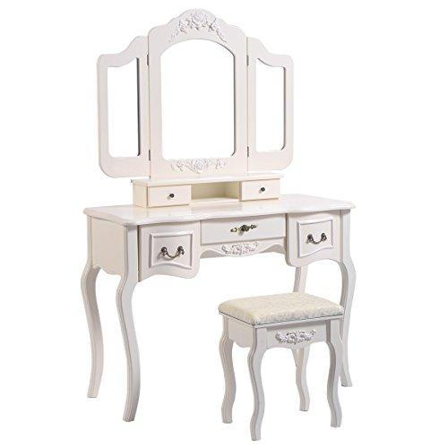 Cheap  Giantex Tri Folding Vintage White Bathroom Vanity Makeup Dressing Table Set 5..