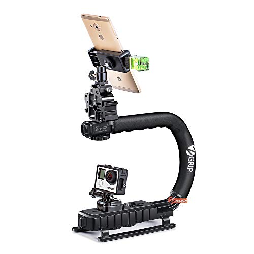 Zeadio Handheld Stabilizer Upgrade Version Combo, with Metal Triple Hot-Shoe+360° Swivel Adapter+Quick Release Buckle Plate+Smartphone Holder Clip+Three-Dimensional Level+1/4 bi-Directional Screw (Swivel Smartphone)