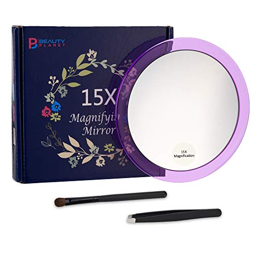 6Inches 15X Magnifying Mirror with 3 Suction Cups,Blue/Purple/Hot Pink, Use for Makeup -