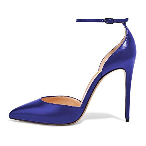 Fsj Donne Sexy Cinturino Alla Caviglia Pompe Punta A Punta Stiletto Scarpe Dorsay Tacco Alto Taglia 4-15 Us Royal Blue
