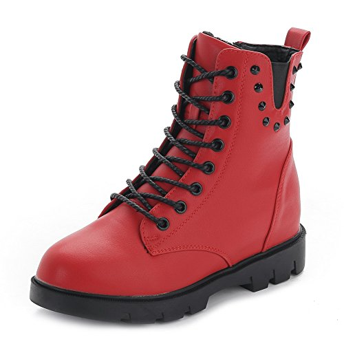 AmoonyFashion Womens Round-Toe Closed-Toe Kitten-Heels Boots With Rivet and Platform Red f67E98Iz1V