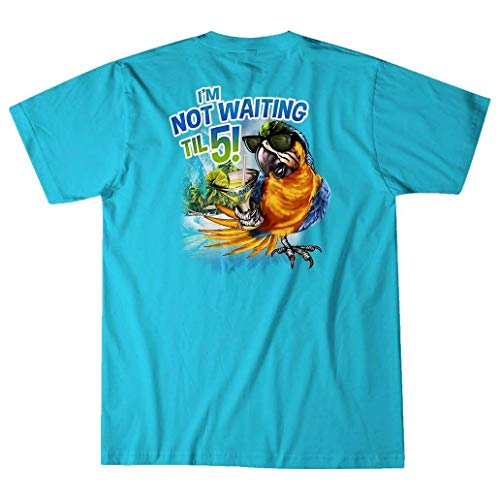 Island Jay I'm Not Waiting Til 5 Parrot T-Shirt Lagoon Blue ()