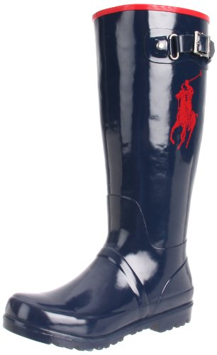 Polo by Ralph Lauren Ralph Rain Boot (Toddler/Little Kid/Big Kid),Navy/Red,12 M US Little - Boots Women Ralph Lauren Polo