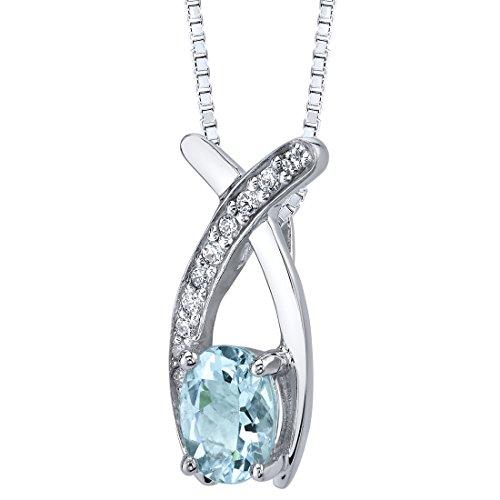 Aquamarine Pendant Necklace Sterling Silver Oval Shape 0.75 carats Premium Grade Aquamarine Pendant