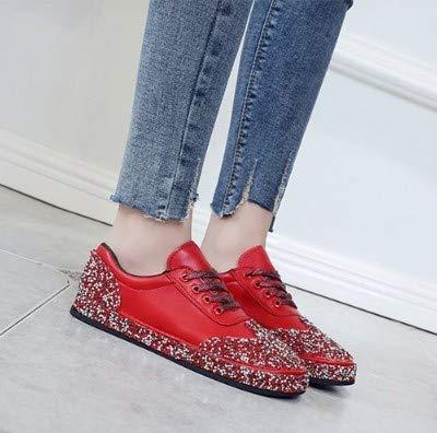 YSFU scarpe da ginnastica scarpe da ginnastica da Donna Autunno Autunno Autunno Signore Casual argentoo Scarpe da Ginnastica da Donna Scarpe Basse Casuali Nero Traspirante Cristallo di Alta qualità All'Aperto, 5.5 7b3721