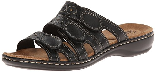 (CLARKS Women's Leisa Cacti Slide Sandal, Black Leather, 9 N US)