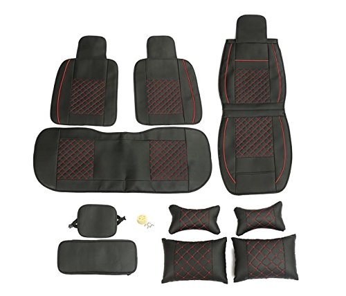 MD Group Car Seat Cover 5 Seat PU Leather Front & Rear Seat Set Full Surround Needlework 10pcs