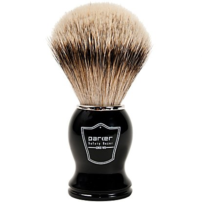 Parker Safety Razor 100% Silvertip Badger Bristle Shaving Brush (Black Handle) - Brush Stand Included ()