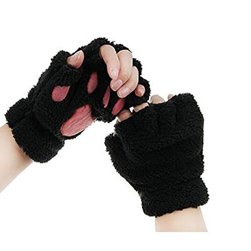 Women Cashmere Cute Cat Claw Bear Paw Fingerless Plush Gloves for Halloween