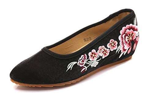 Heel Mother Cloth Embroidered Shoes Soft Leisure Walking Shoes Shoes Black Embroidered Low Flats and Shoes Shoes Espadrilles Bottom Ballet Cattle Dance Women's Tendon wSqn0zPw8