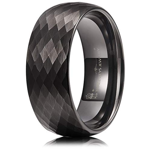 - THREE KEYS JEWELRY 8mm Hammered Multi-Facet Brushed Black Tungsten Wedding Ring Engagement Band Domed Size 7